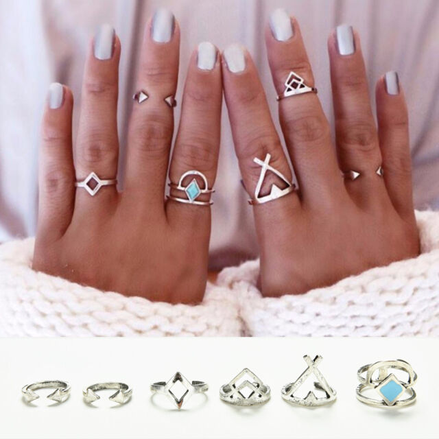 6xNew Vintage Beach Punk Geometry Ring Set Carved Boho Midi Finger Ring Knuckle