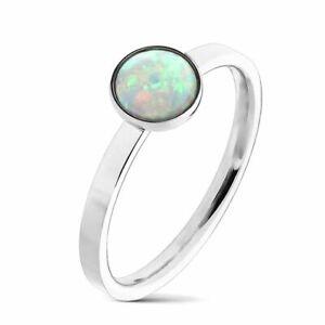 Ring Opal  Edelstahl silber  Damen  Stein Damenring Fingerring  Geschenk für Sie