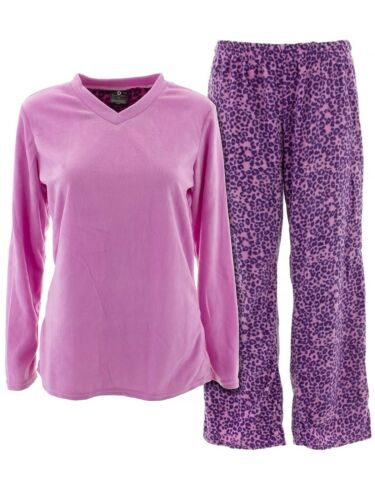 Donna L/'oren Womens Pink Lavender Leopard Warm Micro Polar Fleece Pajamas