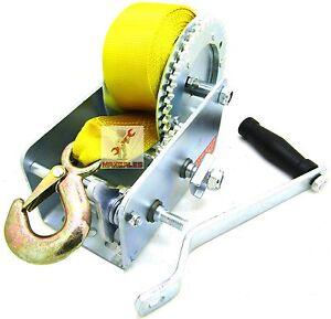 Nylon-Strap-DUAL-GEAR-Hand-Winch-2000LBS-Hand-Crank-Heavy-Duty-ATV-Trailer-Boat