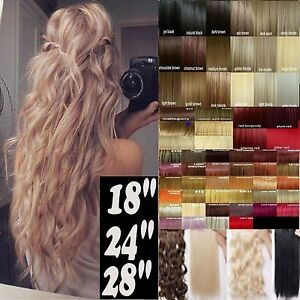 Clip-in-Hair-Extensions-18-28-034-one-piece-half-full-head-Black-Brown-Blonde-Red