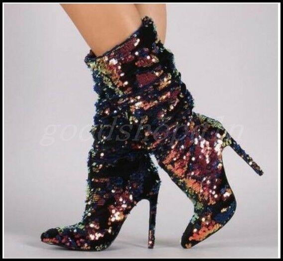 Sexy Womens Sequins Nightclub Mid-Calf Boots High Heels Pointy Toe Slouch shoes