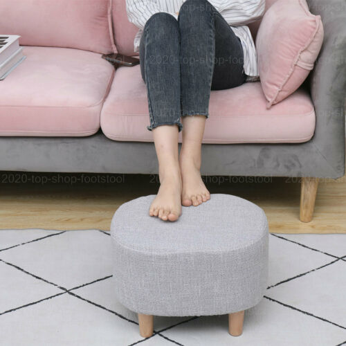 Oval  Footstool Foot Rest Stool Pouffe Ottoman with Linen Removable Cover Grey