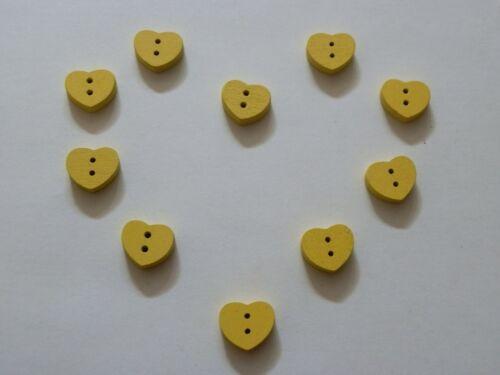 10 Botones Madera Corazón 15mm 2 orificios
