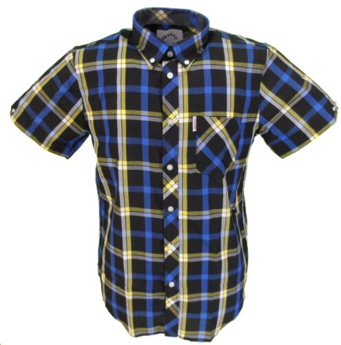 Brutus Black//Yellow Checked Short Sleeved Vintage Button Down Shirts