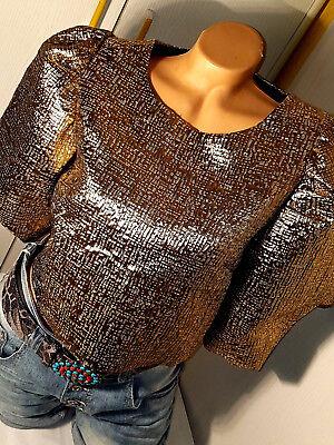 K48-italy Neu Vanessa Scott 36 38 S M Gold Struktur Kurz Bluse Bolero Jacke Dame Feines Handwerk