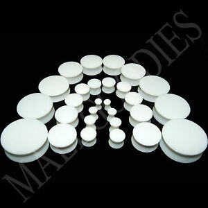 V018-Acrylic-Double-Flare-White-Solid-Saddle-Ear-Plugs-Earlets-10g-to-2-034-PAIR