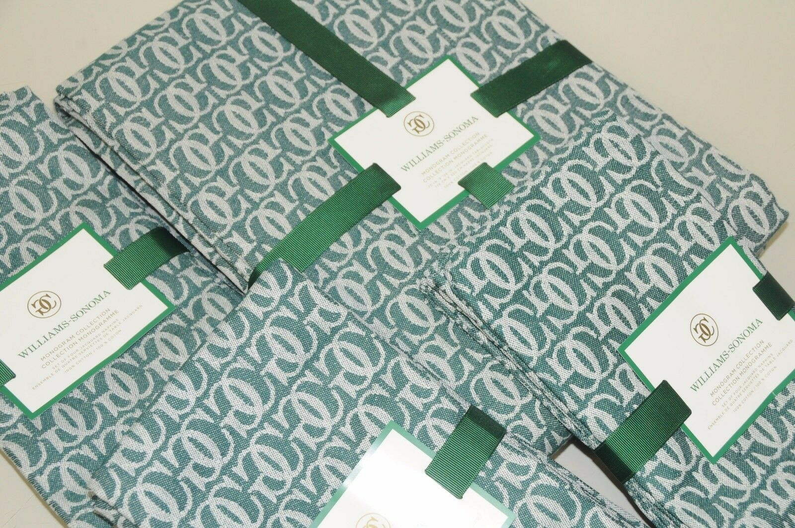Neuf Williams Sonoma Grande Cuisine Jacquard Nappe 70x126 + 12 Serviette Vert