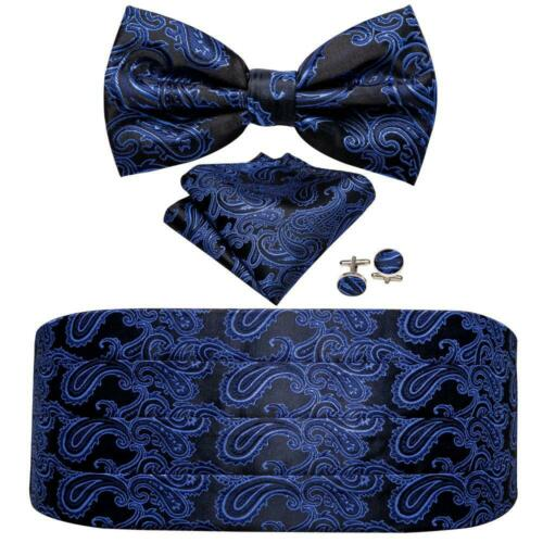Mens Cummerbund Bowtie Set Paisley Black Purple Pocket Square Cufflinks Silk USA