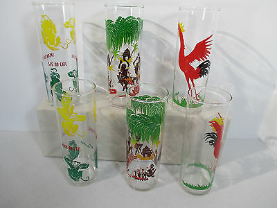 Tiki Tumblers Natives Rooster Evil Monkeys Federal Glass Vtg 1950s Tall Set of 6