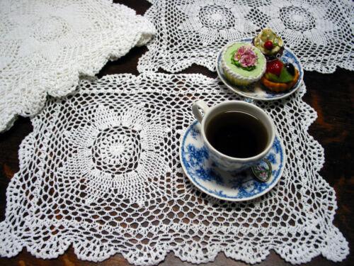 "12psc Hand Crochet Pace Mats 17/""x12/"" White Cotton Vtg Wedding Tea Party Shabby"