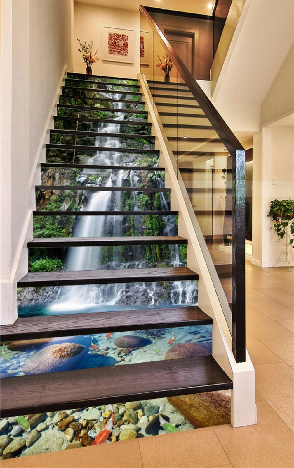 3D Waterfall Pond 71Stair Risers Decoration Photo Mural Vinyl Decal WandPapier AU