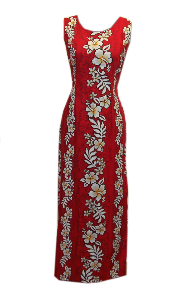 Cotton Luau Party Long Hibiscus Flower Red Red Red Hawaiian Tank Ladies Sundress-XS-3XL f8775d