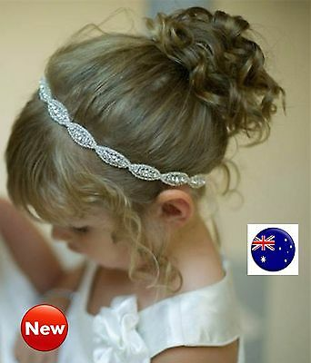 Girl Kid Baby Shower Crystal Rhinestone Lace White Hair Headband head Band PROP