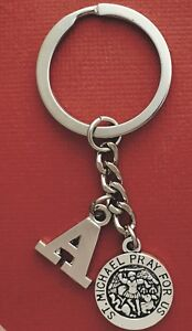 St-Michael-Keyring-and-Initial-Letter-A-to-Z-Keychain-personalise-Medal-Saint