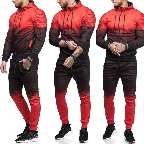 2pcs Men/'s Tracksuit Set Hoodie Top Bottoms Joggers Pants Jogging Zip Sportswear