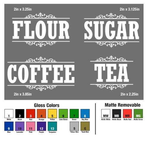 Canister Label Set Decal Stickers Kitchen Home Decor Pantry Flour Sugar Tea Jar