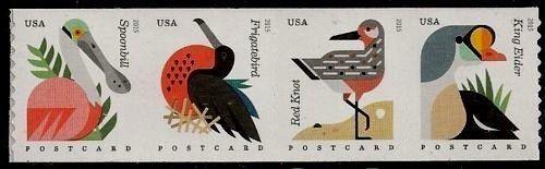 2015 35c Coastal Birds, Postcard, Strip of 4 Scott 4995