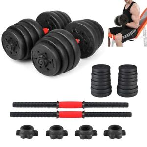 New-Weight-Dumbbell-Set-66-LB-Adjustable-Cap-Gym-Barbell-Plates-Body-Workout