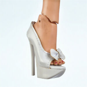 Sybarite-Superdoll-Peep-toe-shoes-Superfrock-16-034-OOAK-Resin-doll-white-bow-knot
