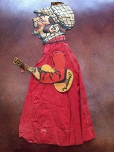 Early 1900's Crepe Paper & Paper Two-Sided Violin Player
