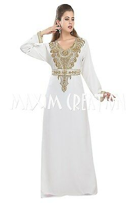 b9a6445c70c TEA PARTY MAXI EVENING DRESS DAILY WEAR HOME GOWN ORIENTAL ROBE ARAB CAFTAN  5419