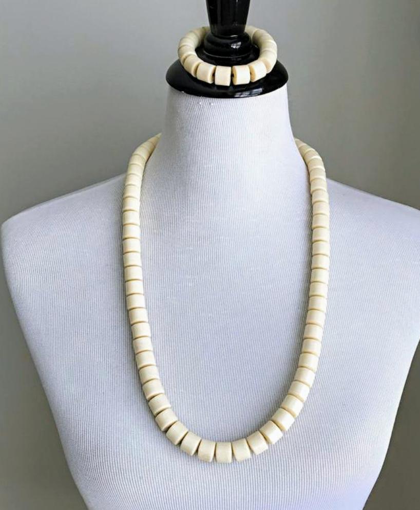 White Igbo necklace for men, Igbo wedding beads, Igbo necklace, white Ibo beads
