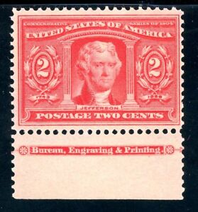 USAstamps-Unused-VF-US-1904-Louisiana-Purchase-Imprint-Scott-324-OG-MNH-Fresh