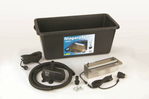 Wasserspiel inkl Ubbink Wasserfall-Set Niagara 30 Inox mit LED Becken Pumpe
