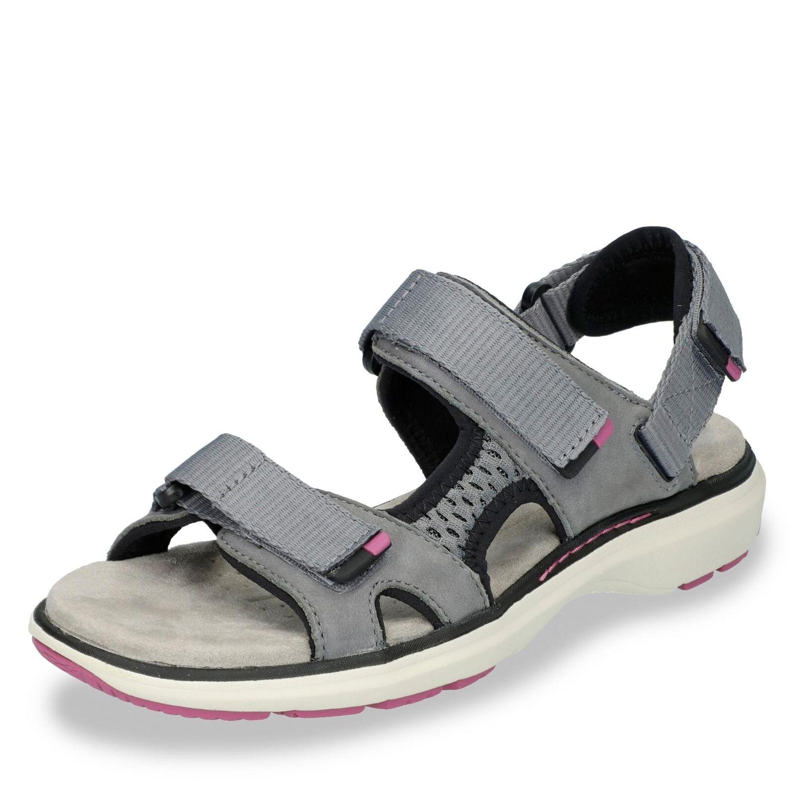 Damen Clarks Trekkingsandale Sommerschuhe grau Schuhe Leder