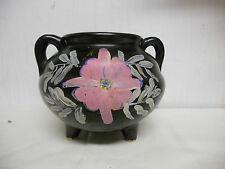 Roseville Tripod Footed Black Handled Crock Vase RRPCO USA
