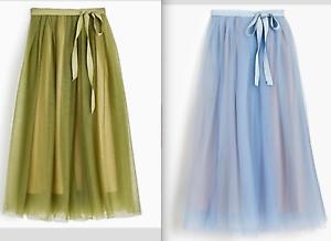200 J.Crew Tulle ball skirt w  sash-H0015-WILD FOREST blueE-size 000, 00, 4, 8