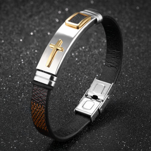 En Acier Inoxydable Avec Cuir Cross ID Bracelet Bangle Fashion Men/'s Boys Bijoux