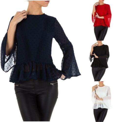 Damen Volant Bluse 2223 Ital-design