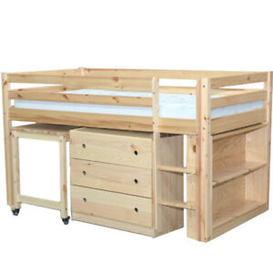 Image Is Loading Junior Twin Low Loft Bed With Desk Chest
