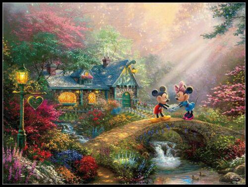 Mickey and Minnie Sweetheart Bridge Counted Cross Stitch Patterns Needlework
