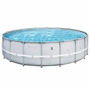 Bestway 18ft x 52in Power Steel Pro Round Frame Above Ground Swimming Pool, Gray
