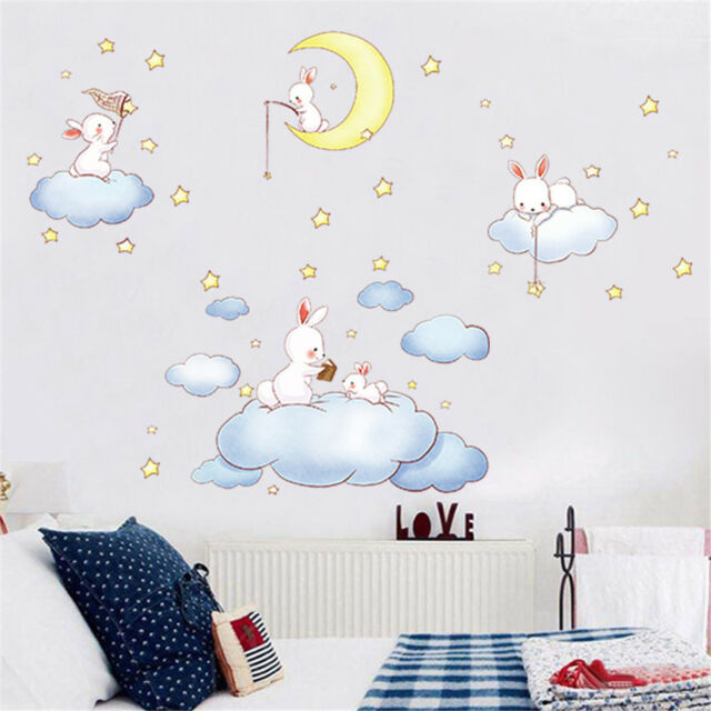 Clouds Rabbit Moon And The Stars Wall Stickers For Baby  Art Wall Decals SP