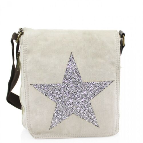 New Women Canvas Crystal Encrusted Star Handbag Crossbody Messenger Shoulder Bag