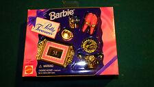 1995 BARBIE Pretty Treasures GLISTENING GOLD TEA SET teapot cups tray Mattel NIB