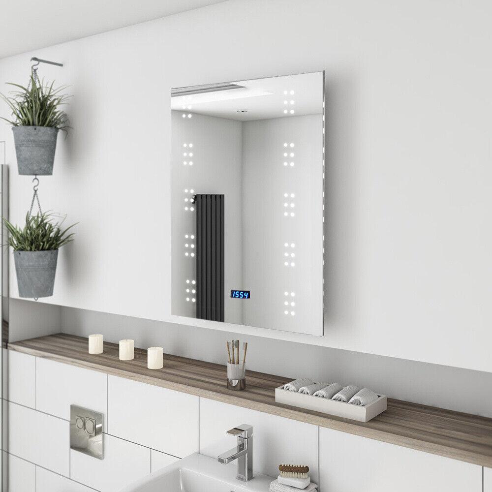 LED Bathroom Mirror with Shaver Socket Demister Sensor Lights Vertically Bedroom