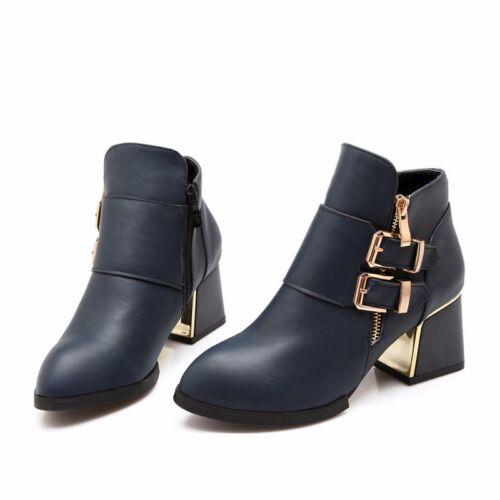 Mujer De 5 Piel Cómodo 8785 Tacón Azul Aguja Como 6 Zapatos Botas IASOFxq