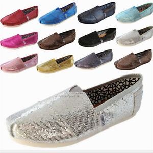 0c62da682cf Women s Sexy Loafers Comfortable Glitter Bling Canvas Shoes Flats ...