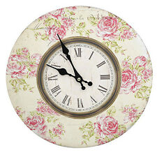 Shabby Vintage Pink and Green Floral Distressed Kitchen Wall Clock - BNIB