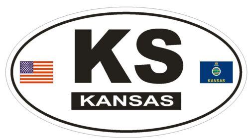 KS Kansas Oval Bumper Sticker or Helmet Sticker D798 Euro Oval with Flags