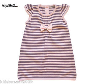 424d89a569e1 Image is loading Tapealoeil-Girls-Pink-Purple-Stripe-Knitted-Pintuck-Bow-