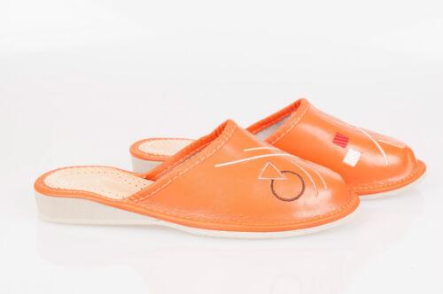 5 8 Orange 4 6 Femmes//Femmes 100/% Cuir Naturel Chaussons Taille: 3 7