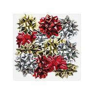 12 Metallic Foil Gift Bows Red Gold Silver Christmas Present Decoration Party BN