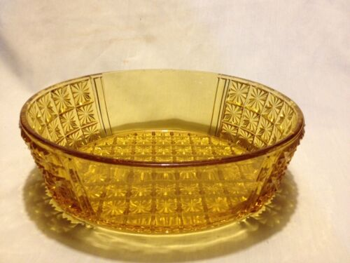 Large Oval Amber Daisy & Button Bowl PRICE & SHIPPING REDUCED!