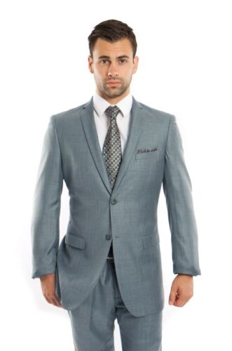 Men/'s Slim Fit Sharkskin Suit Formal Two Button Business Fitted Wedding Suits